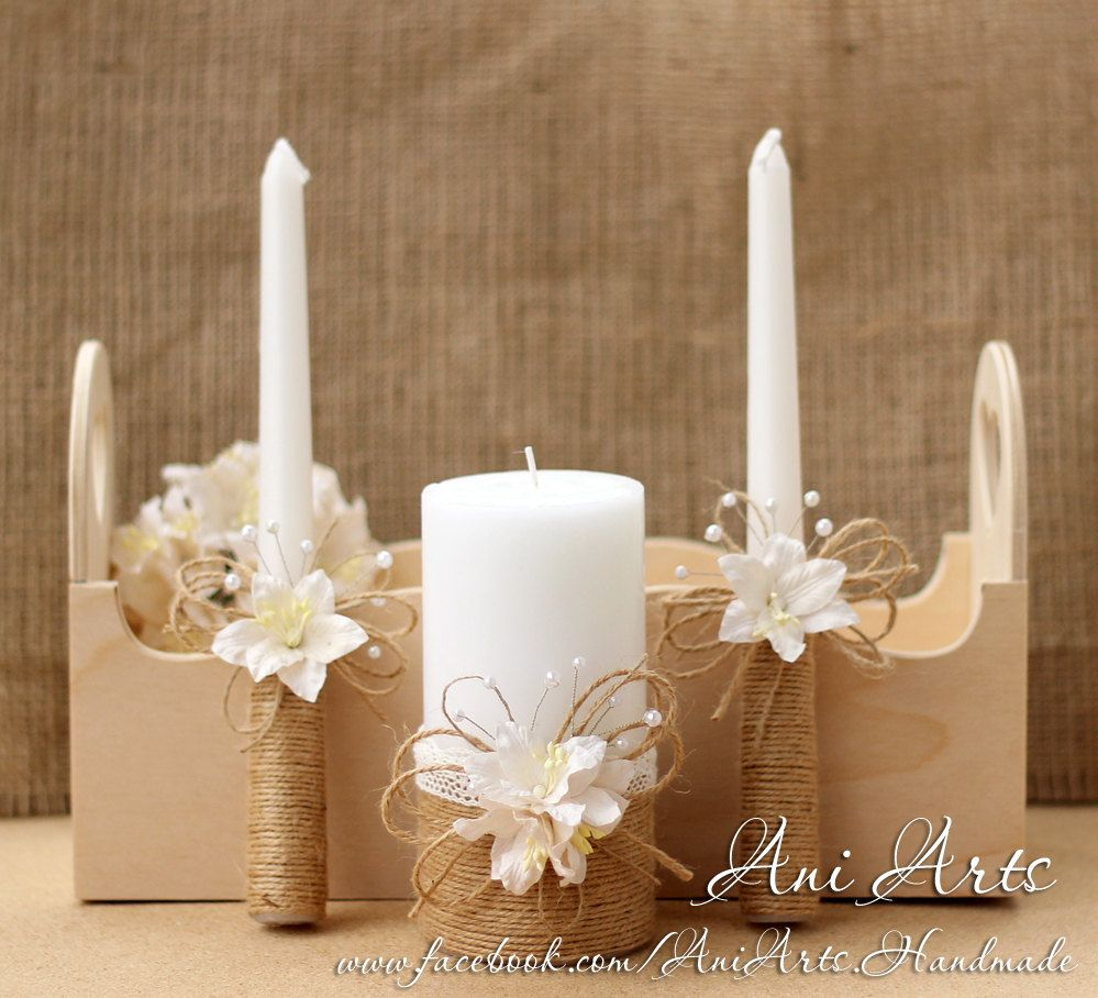 Rustic Wedding Set Burlap Wedding Candles Rustic Wedding ...