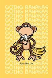 Original Bobby Jack Going Bananas On Yellow Background Banana Picture Monkey And Banana Monkey Art