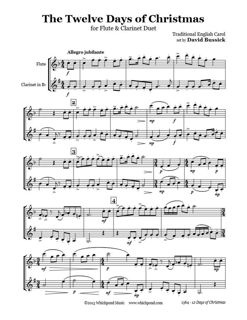 12 Days Of Christmas Flute/Clarinet Duet | Clarinet sheet music, Flute sheet music disney, Flute ...