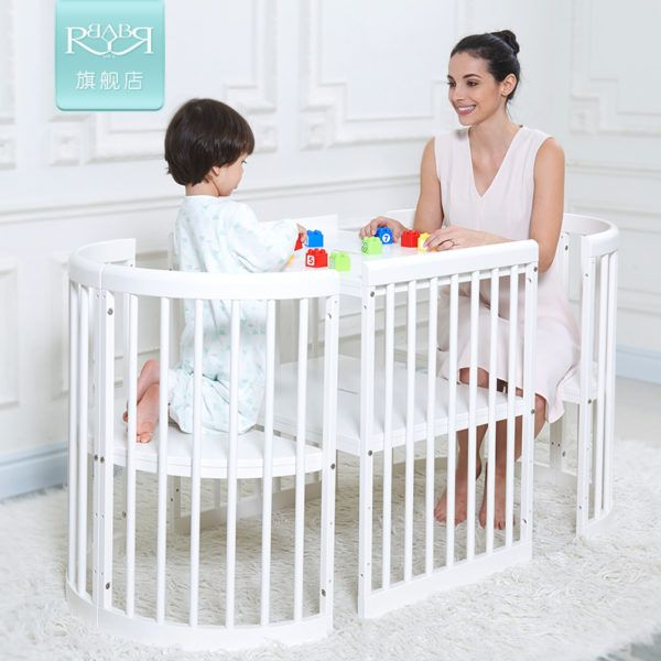 Cribs Multi-Function Baby Bed Solid Wood Round Bed with Variable ...