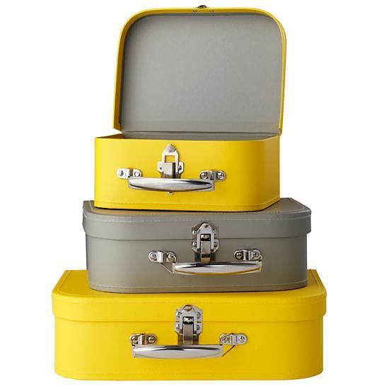 The Land of Nod | Kids Storage: Yellow and Grey Storage Suitcases ...