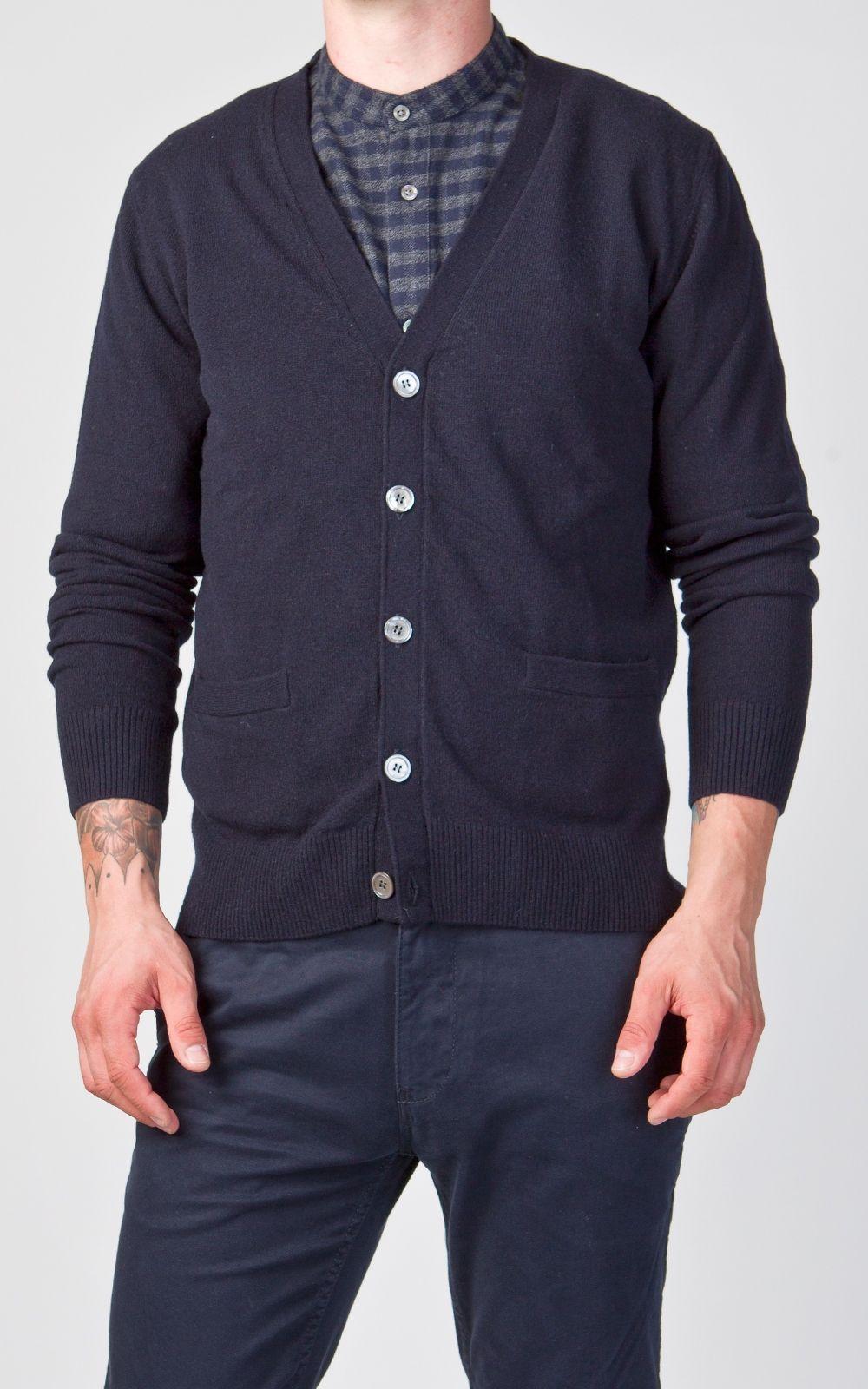 NN.07 Jonathan Fine Merino Wool Cardigan Navy Blue | Best Raw ...