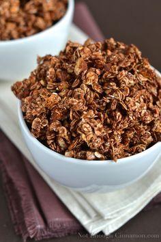 Chocolate Granola With Sweetened Condensed Milk Not Enough Cinnamon Recipe Recipes Chocolate Granola Healthy Snacks Recipes