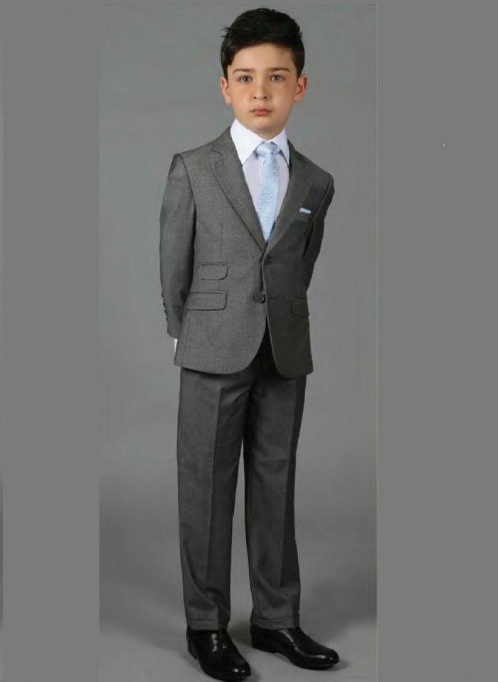 tenue de mariage enfant garcon d honneur Ceremonieexpress costume en gris  avec cravate bleu ciel 49c1c7f06a5
