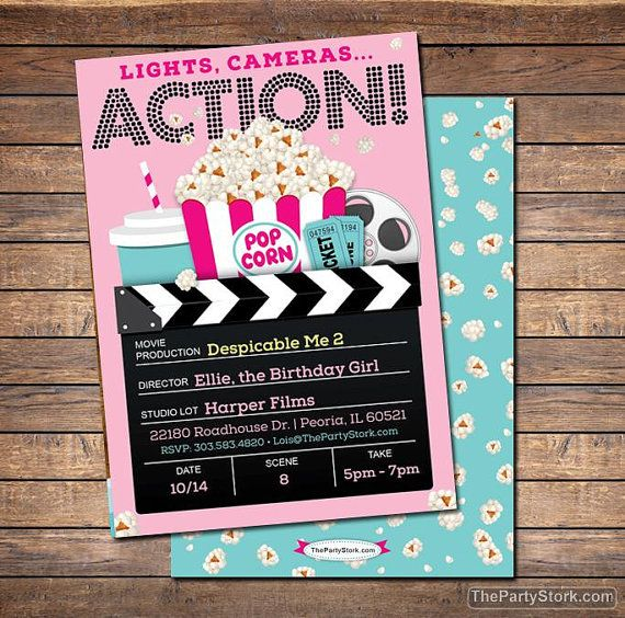 Movie Invitation, Movie Party Invitation, Printable Girls Movie - printable movie ticket template