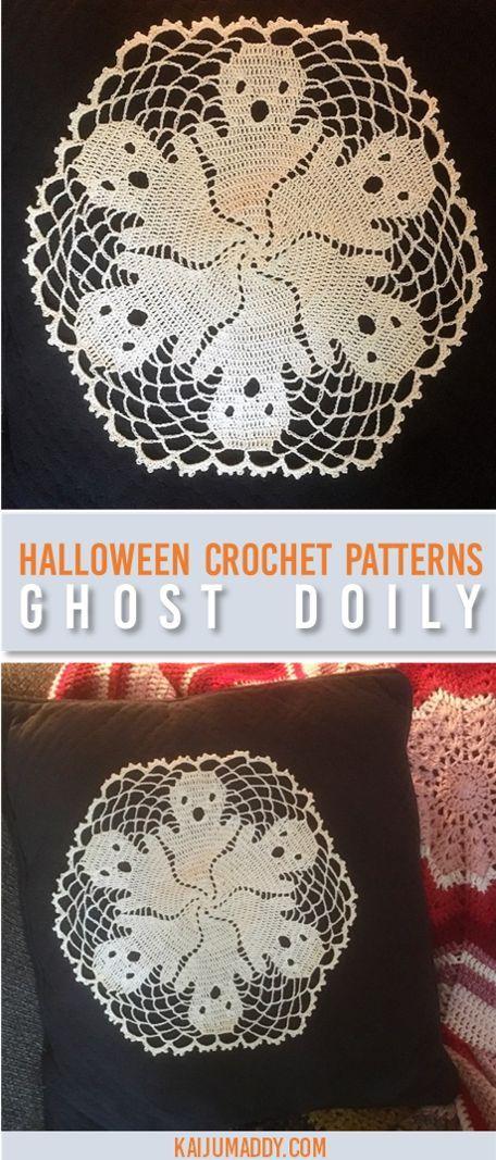 Halloween Crochet Patterns Ghost Doily Holidayhalloween