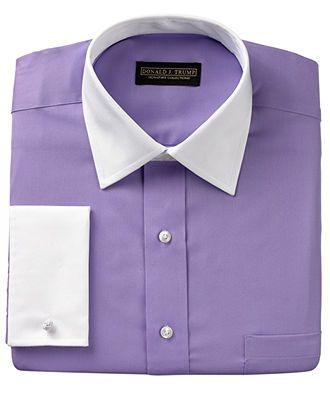Men/'s Shirt Non Iron Formal Thick Purple Button Cuff