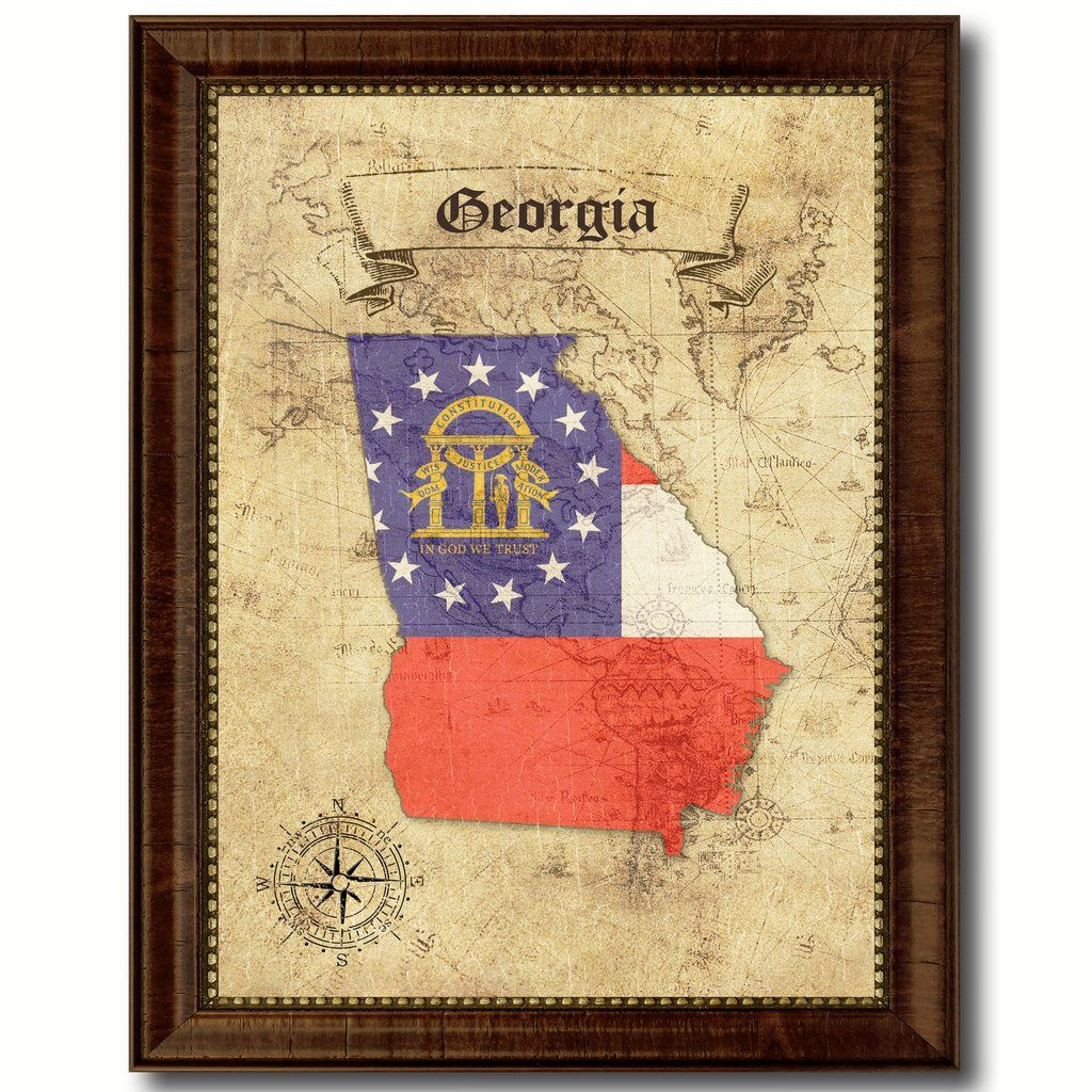 Georgia State Vintage Map Home Decor Wall Art Office Decoration Gift ...