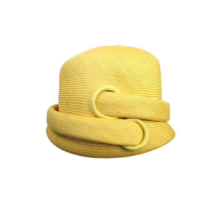 43afa956f5e Yves Saint Laurent 1960 s maize yellow finely woven straw hat.