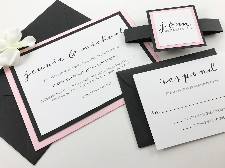 Pink And White Wedding Invitations Modern Flowing Script Wedding