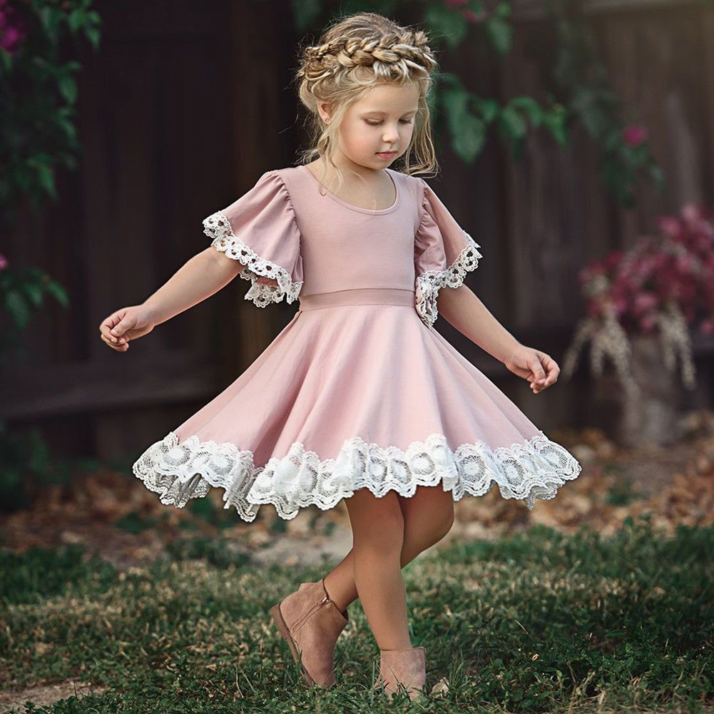 Kids baby girls dress lace floral party dress short sleeve solid