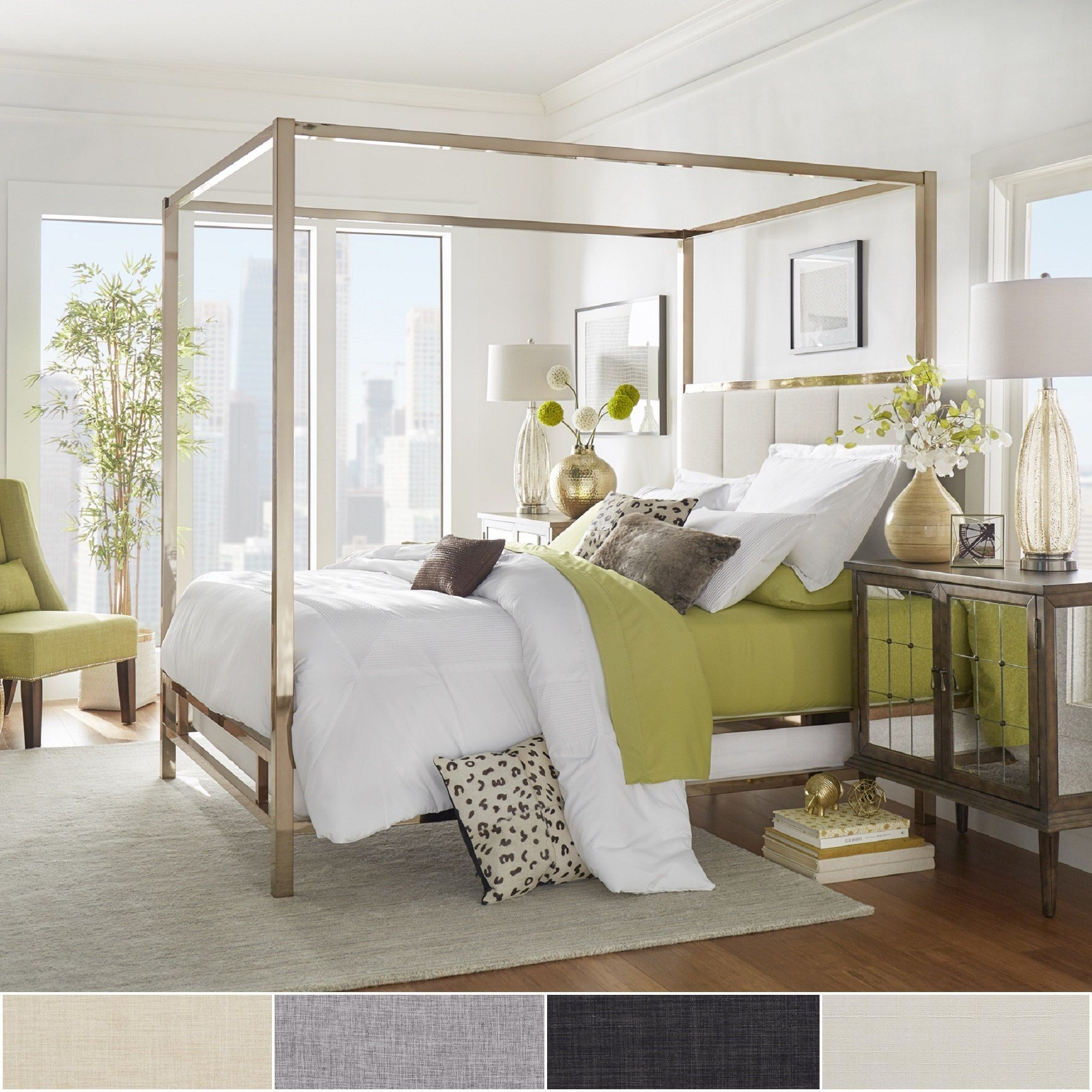 Solivita Champagne Gold Metal Canopy Bed with Vertical Panel Headboard by  iNSPIRE Q Bold (Full Size - Beige Linen)
