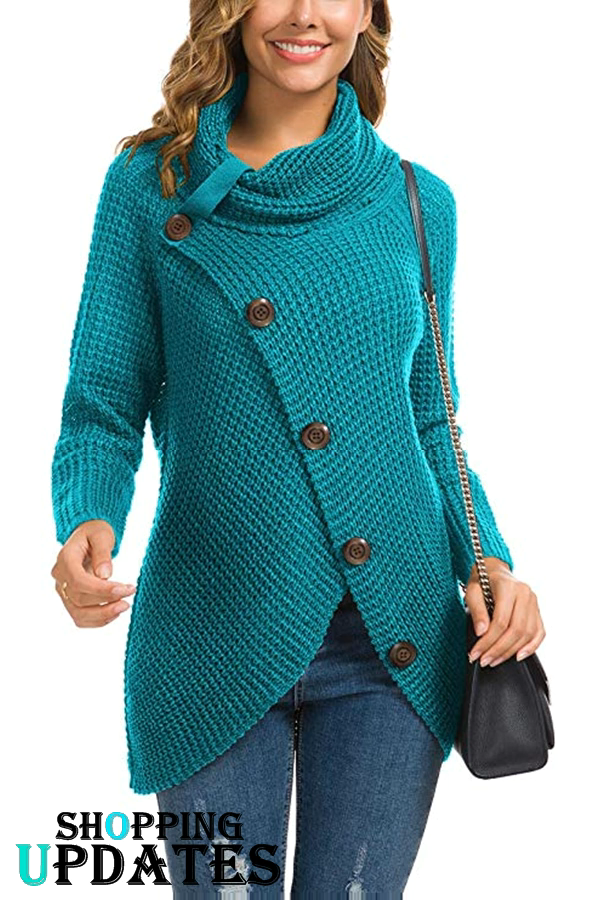 Women's Casual Turtle Cowl Neck Knit Sweater
