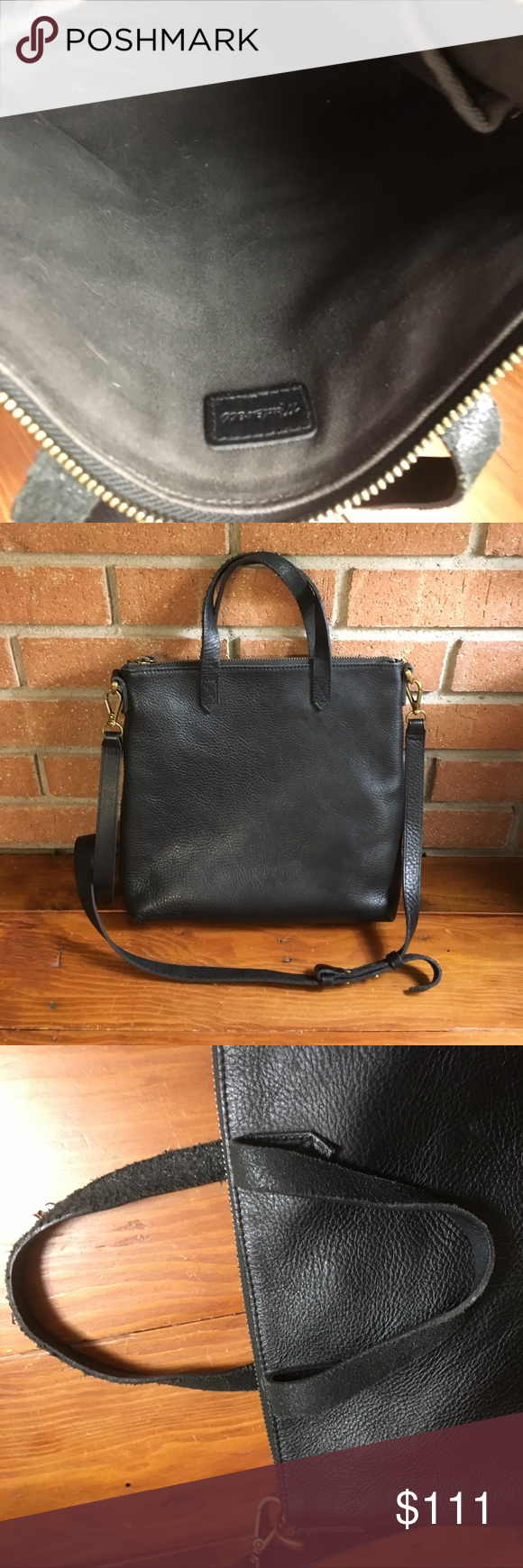 Madewell mini transport true black Good used condition – very minor wear to corners – some wear to handles and strap – see photos – price is firm Madewell Bags Crossbody Bags