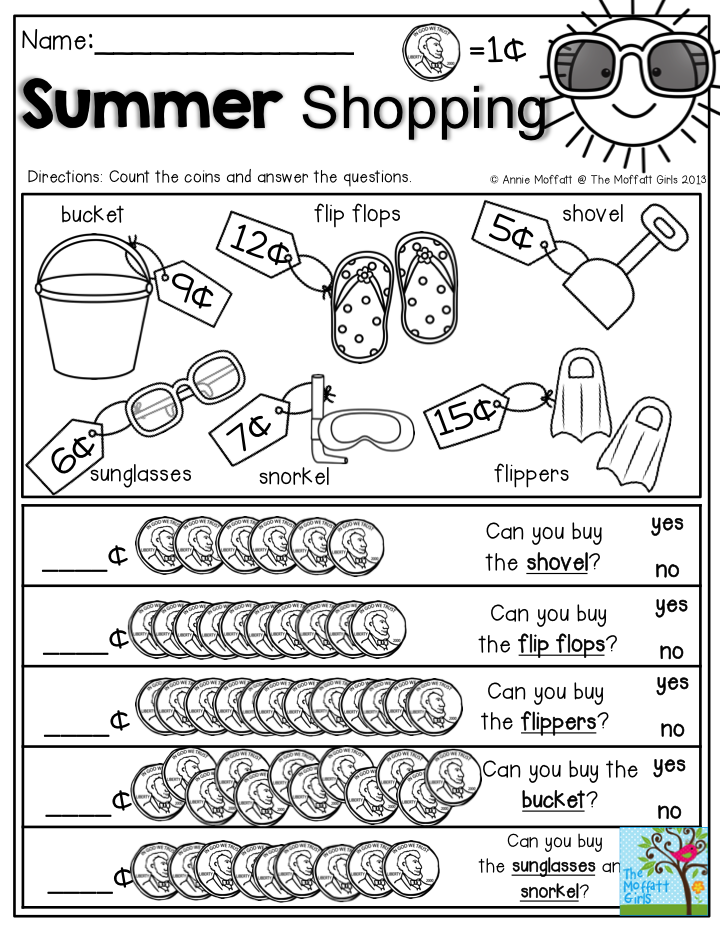 Summer Shopping- Count the coins and answer the questions. Help your ...