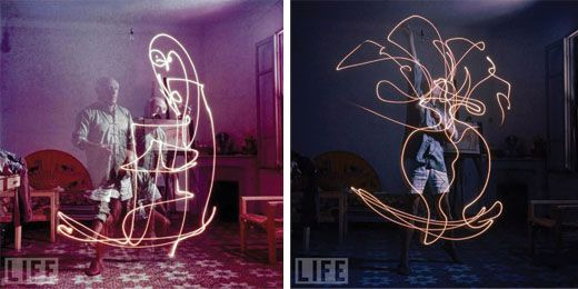 Way back in 1949, LIFE photographer Gjon Mili visited Picasso. He showed him some of his photographs of light patterns formed by a skater's leaps,obtained by fixing tiny lights on the points of the skates. Inspired, the two created these photographs of Picasso 'drawing' with a small flashlight in a dark room.
