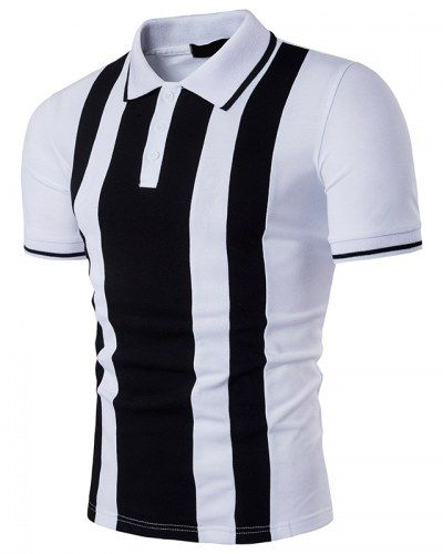 Coolred-Men Cozy Oversize Short Sleeve Striped Polo Top Tshirt