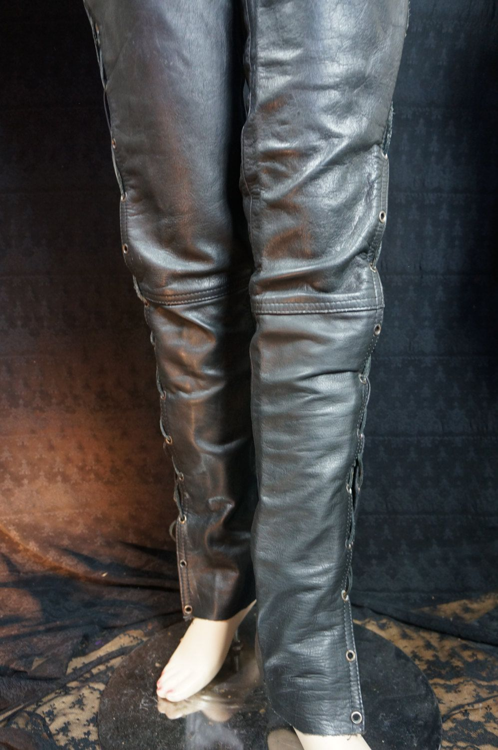 5037f9724bb58 Vintage Women's Leather Jeans SEXY, Gothic Punk Leather Lace Up Jeans, 80s  Women