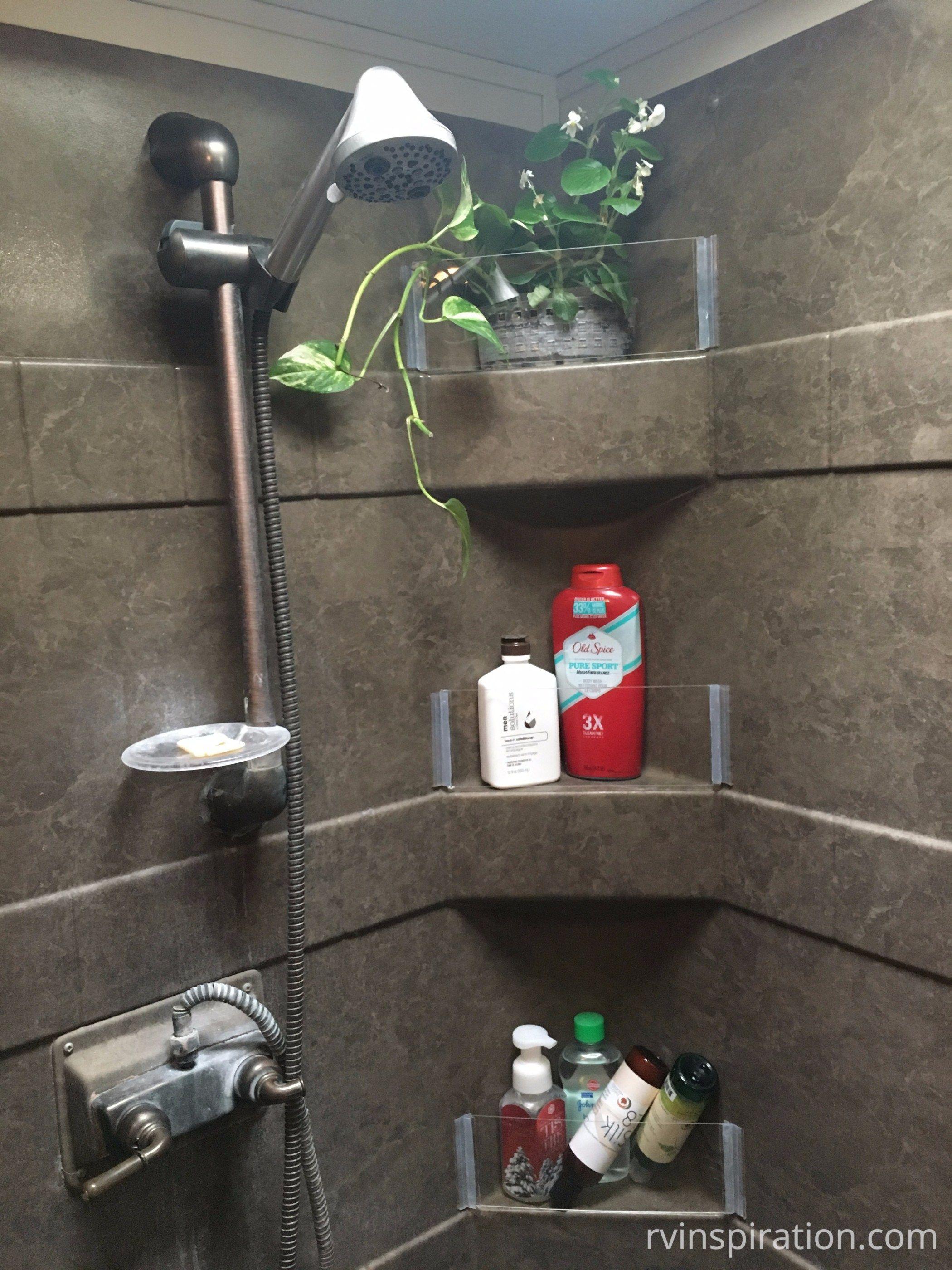 Rv Bathroom Storage Organization Ideas And Accessories Shower Shelves Bathroom Storage Organization Shower Remodel