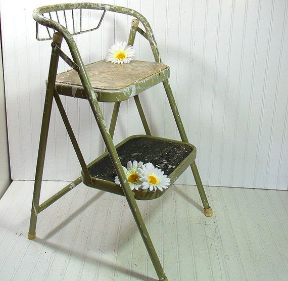 Vintage Foldable Wood Ladder With Paint Stand