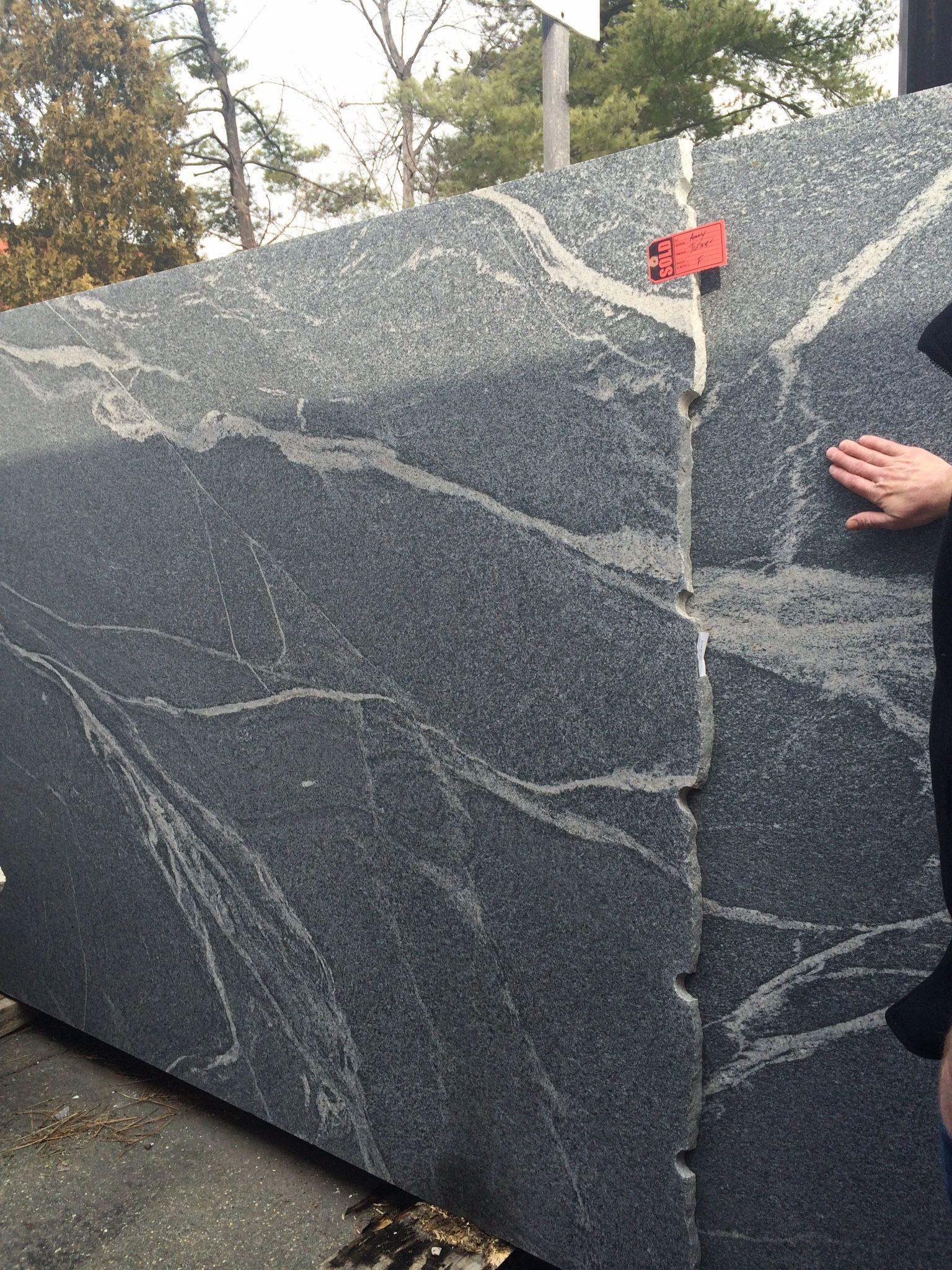 Silver grey granite dark grey with white veining honed