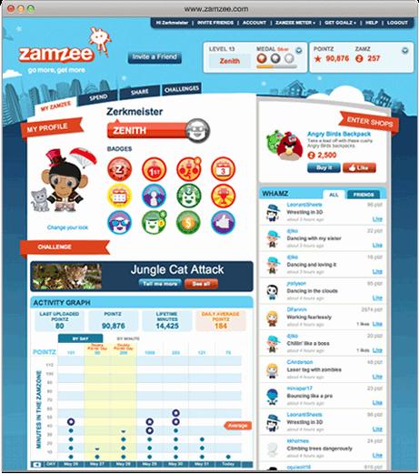 Zamzee es una especie de memoria USB que registra la actividad cotidiana del niño y la intensidad de sus ejercicios. Puede colocarse en la ropa o los zapatos del usuario y una vez que se conecta al ordenador se registrará toda la actividad diaria del usuario en la página web de Zamzee.