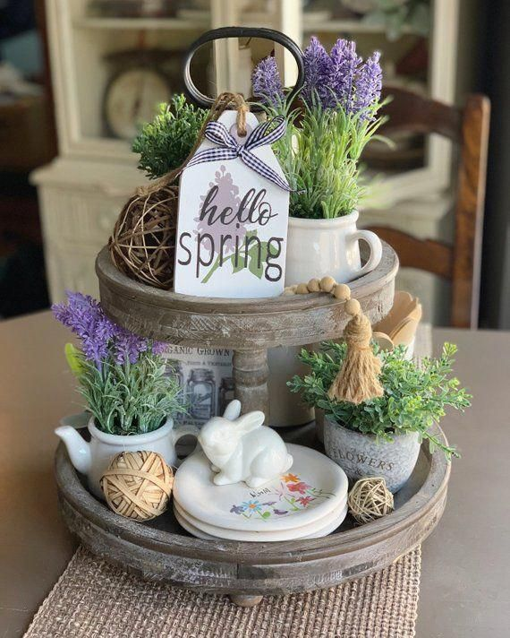 Hello Spring / Wood Tag / Tiered tray decor / Farmhouse Decor / Mini Sign / Tag Sign / Tray Decor / Spring Decor / Rae Dunn