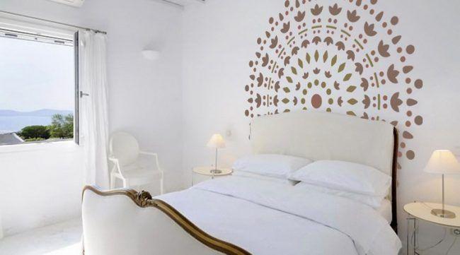 wand-streichen-muster-ideen-schlafzimmer-hinter-kopfteil Home - streichen schlafzimmer