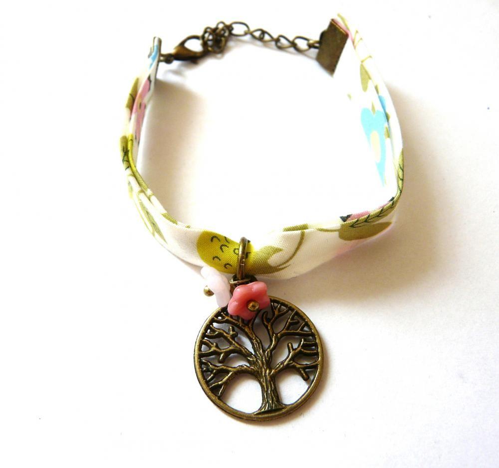 Bracelet Liberty Arbre et Fleur Rose par henne