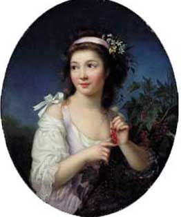 MArie-Victoire Lemoine (1754-1820). [Portrait property of Ball State University]. Born in Paris and may have been a student of Elisabeth Vigee-Lebrun. Her painting Atelier of a Painter is probably a portrait of Vigee-Lebrun. Lemoine was a portraitist and miniaturist who was part of a generation of women who were able to enjoyed considerable success as professional artists. Lemoine's career spanned the periods both before and after the French revolution.