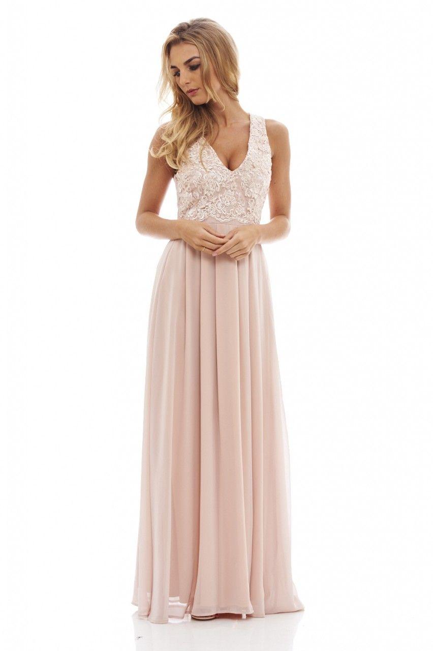 Women\'s Beige Lace Top Maxi Dress