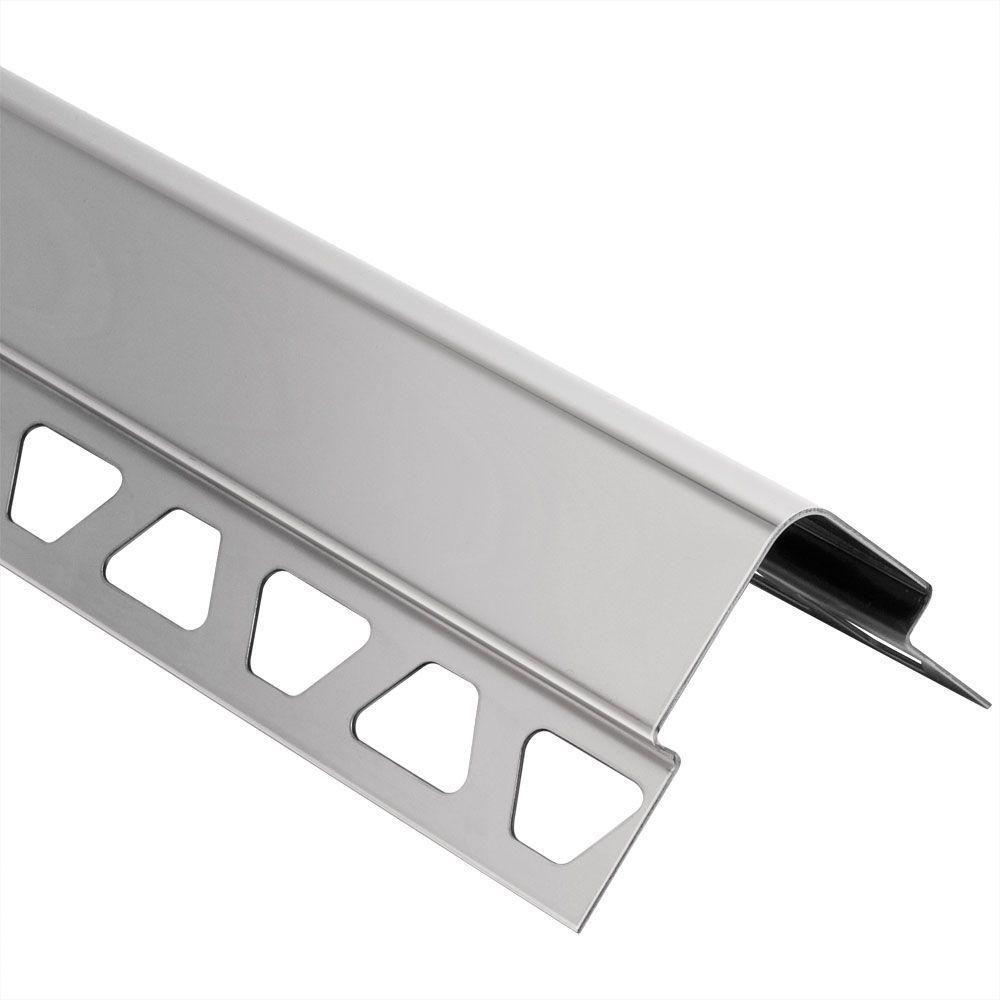 Schluter ECK-E Stainless Steel 5/16 in. x 4 ft. 11 in. Metal Corner ...