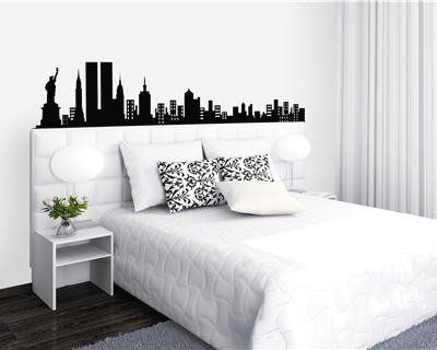 d coration chambre ado new york t te de lit sticker mural noir blanc chambre marjo pinterest. Black Bedroom Furniture Sets. Home Design Ideas