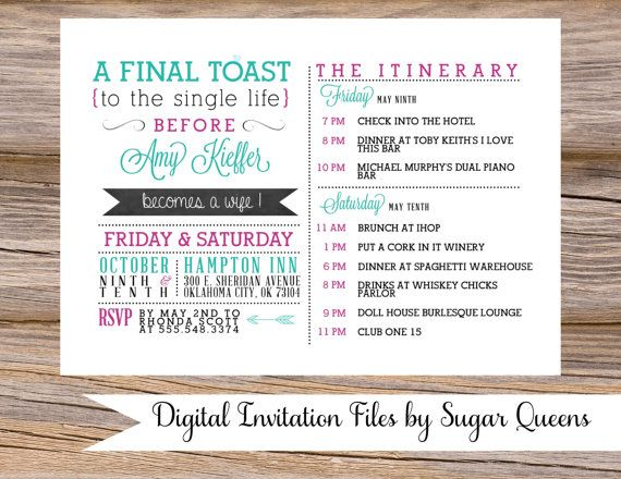 Watercolor Antler State Fair County Rustic Wedding By SugarQueens - Party invitation template: bachelorette party itinerary template