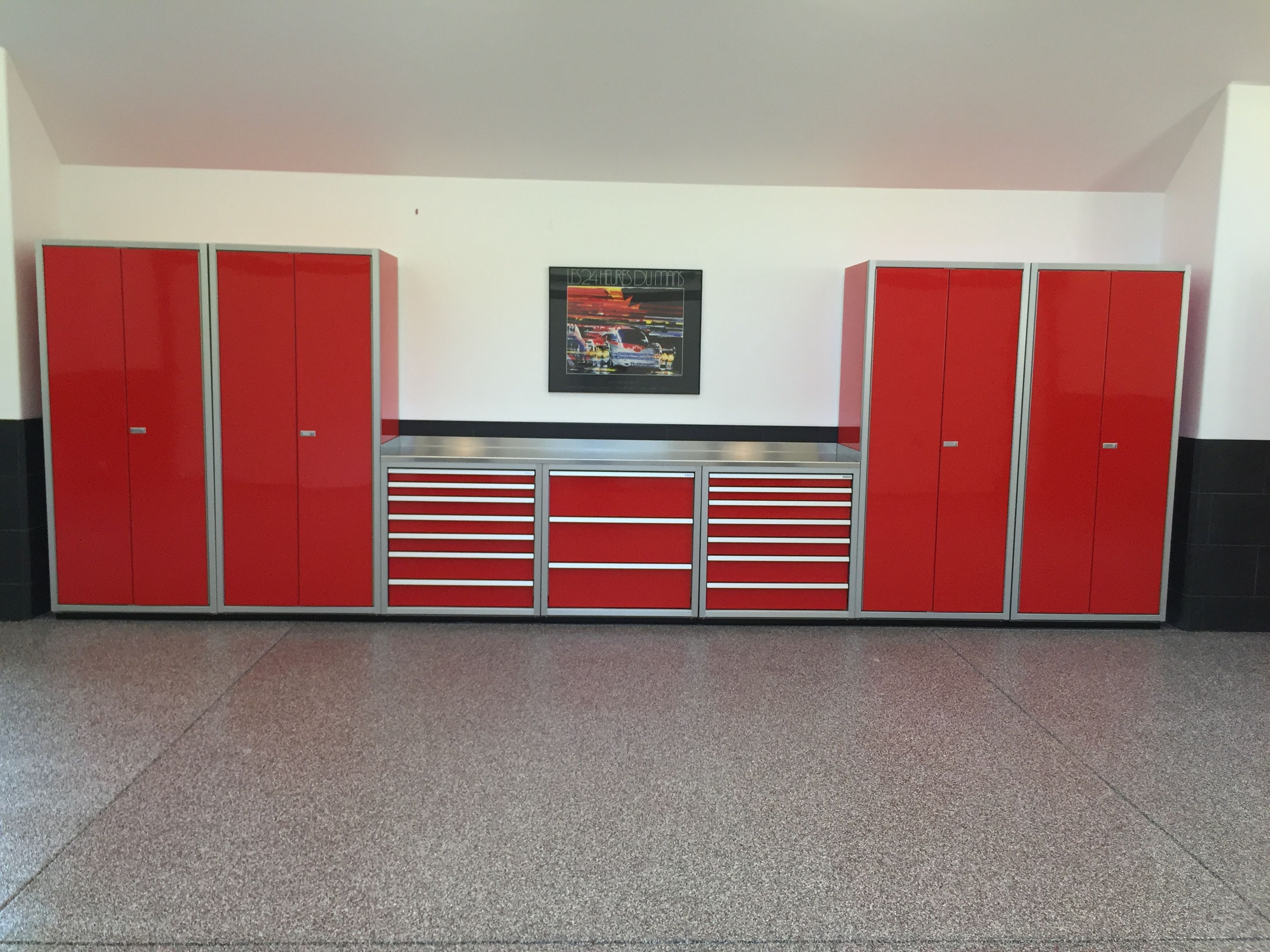 A Nice Set Of Red Moduline Cabinets