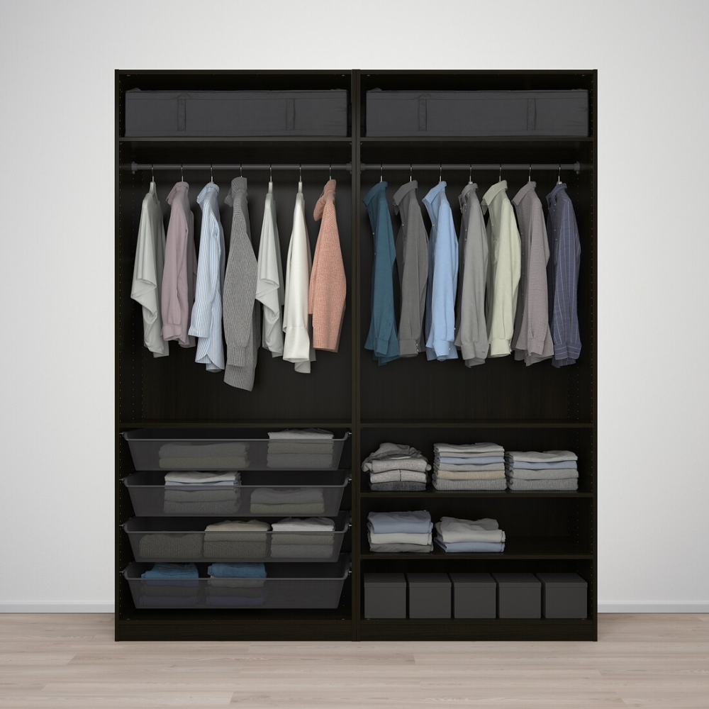Pax Wardrobe Black Brown Stained Ash Effect Black Brown Mehamn Black Brown Stained Ash Effect 78 3 4x26x93 1 8 In 2020 Pax Wardrobe Ikea Pax Wardrobe Ikea Pax