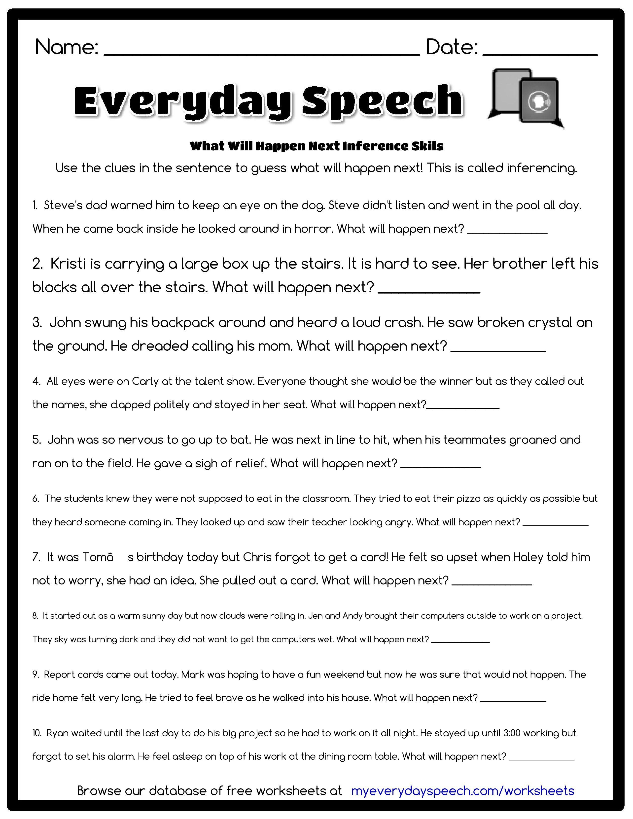 Everyday Speech Worksheet Creator Speech Therapy Worksheets Speech Speech Therapy Activities