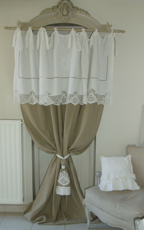 magnifique rideau en linge ancien joliment travaill et toile de lin 100 naturel gardinen. Black Bedroom Furniture Sets. Home Design Ideas