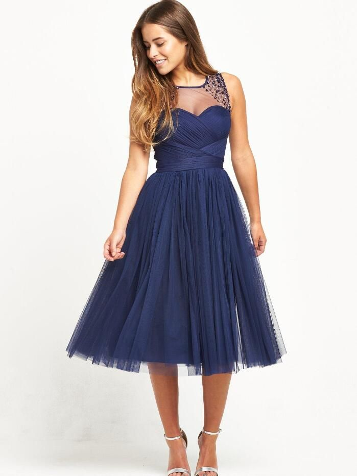 simple moderne col transparent courte bleu marine tulle robe de bal de promo junior avec perlage. Black Bedroom Furniture Sets. Home Design Ideas