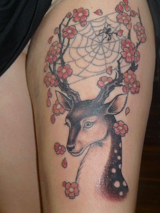 Deer Tattoo Cob Web Spider Cherry Blossoms Reindeer Tattoos Animal Tattoo Cherry Blossom