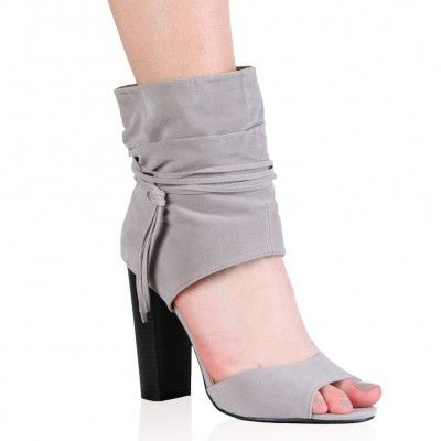 rayne high heels in grey faux suede  fashion shoes heels
