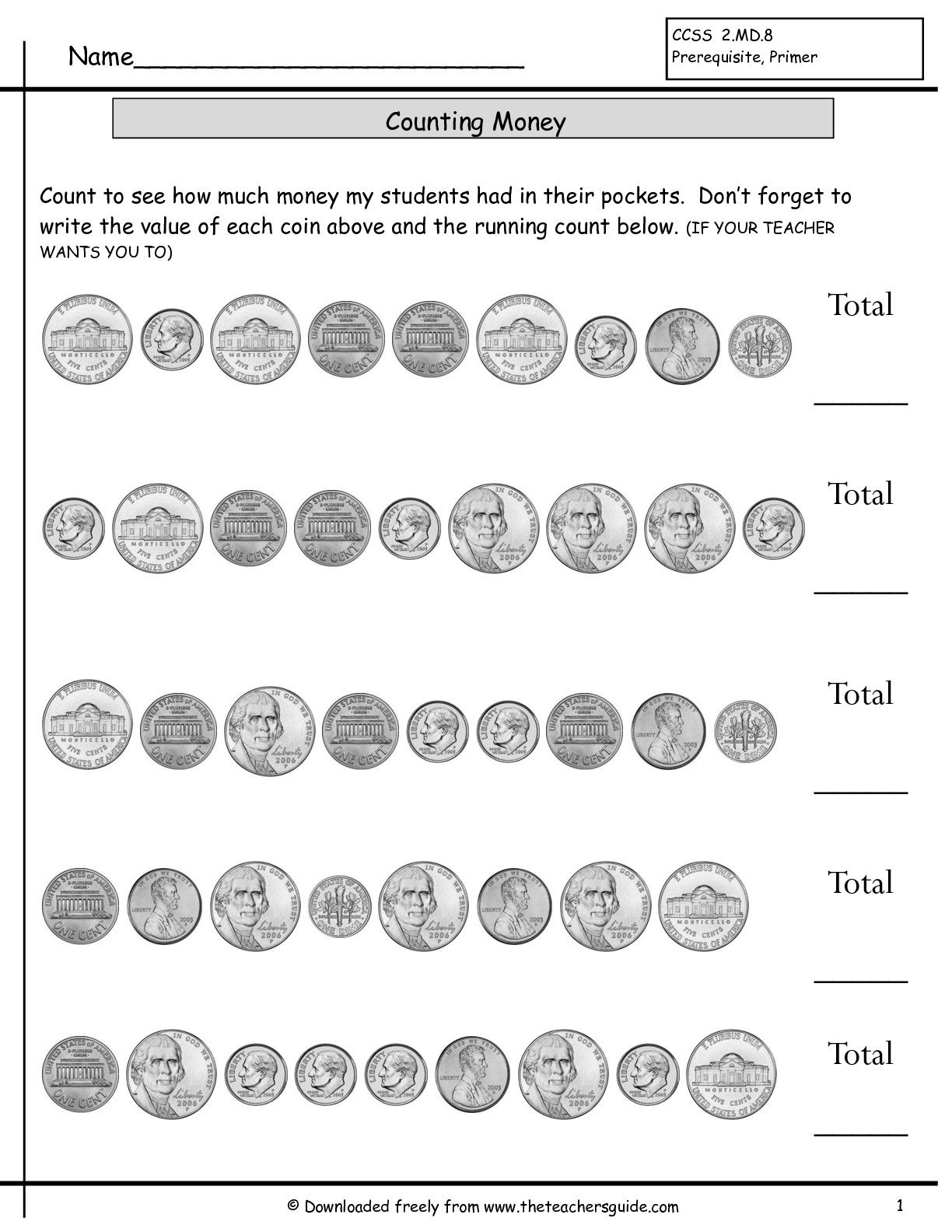 Mixed Coins Worksheet