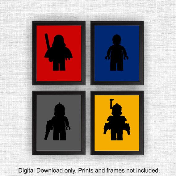 Lego star wars silhouette pochoir gar on chambre salle de jeux decor art lego star wars jeu de - Pochoir star wars ...