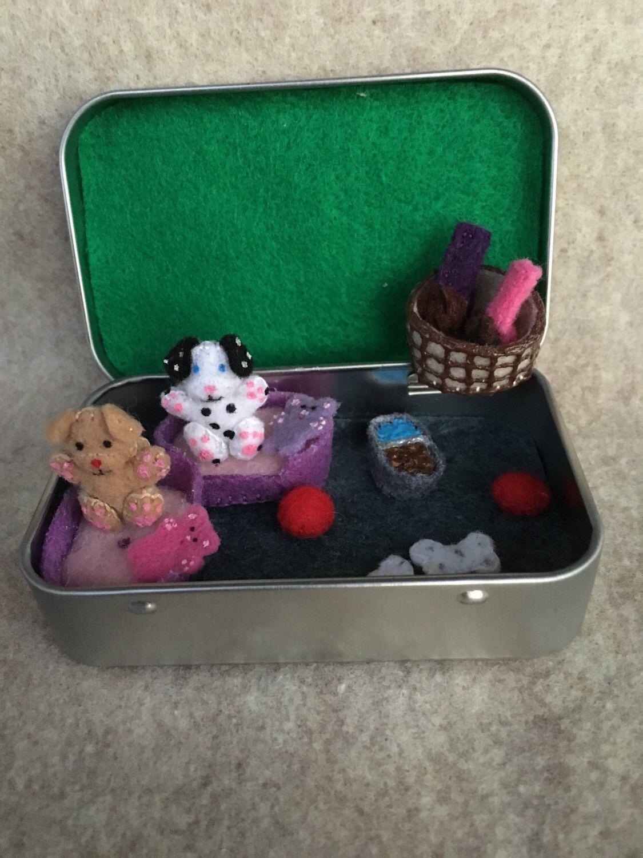 Itty Bitty Maties Miniature Felt Dog In A Tin Play Set By