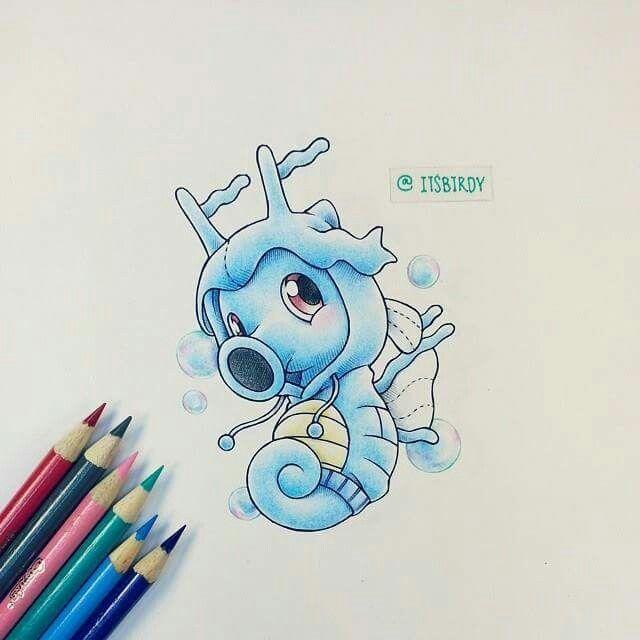 Cute Horsea colored pencil drawing.