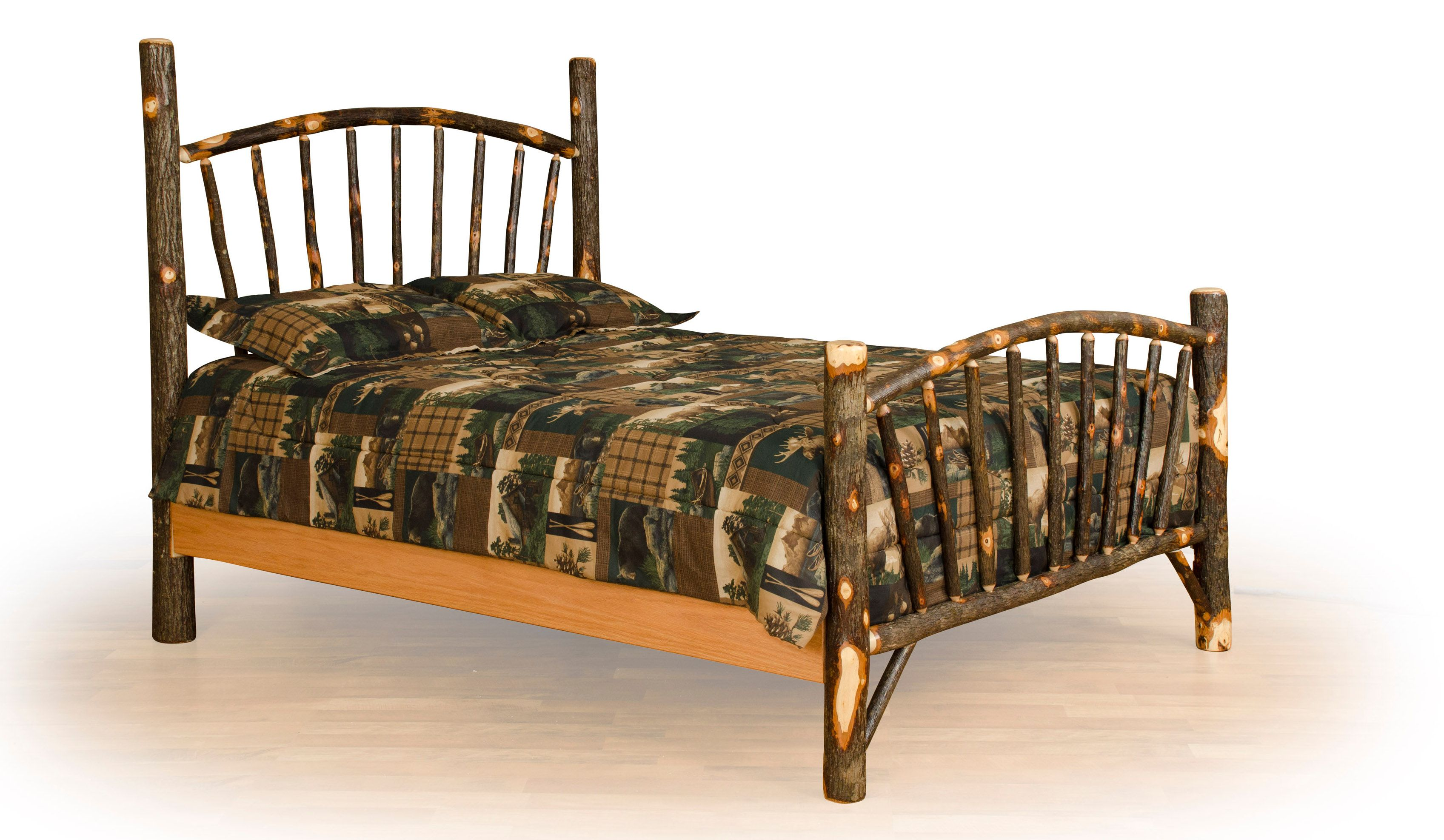 Rustic Hickory Log Bed Sunburst Twin / Full / Queen