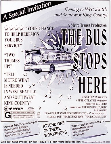 The Bus Stops Here' poster, c  1997 | Metro | Poster, Bus
