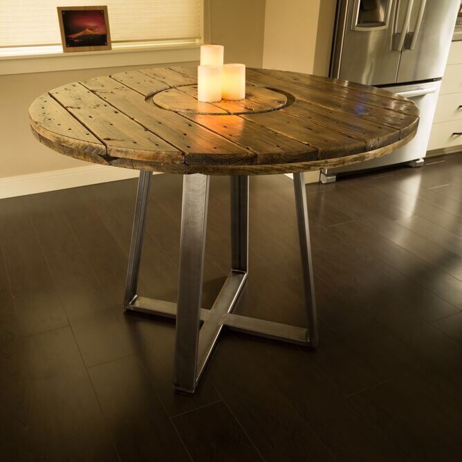 Custom Dining Table Made From Recycled Cable Spool And Cold Steel Magnificent Custom Dining Room Tables Decorating Design