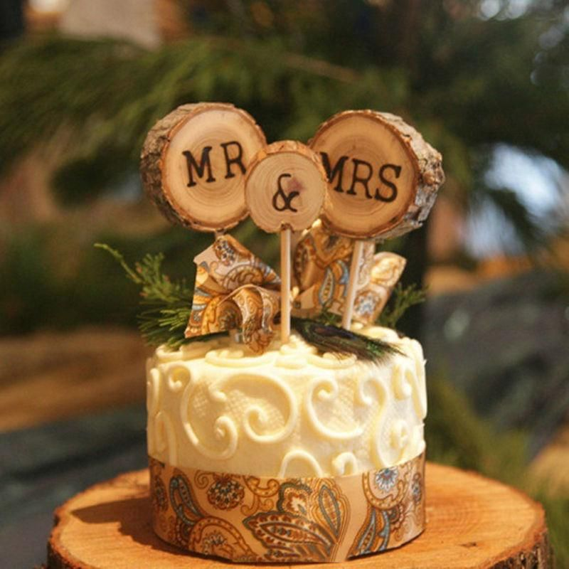 Wholesale 3pcs Mr Mrs Cake Toppers Rustic Wedding Wood