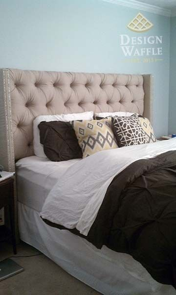 Diy Tufted Wingback Headboard In White For The Spare Room Bed Can Also Be A Backdrop When I Move Out Studio